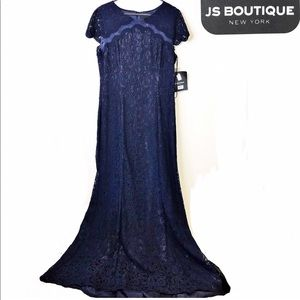 J.S.Collection navy lace mermaid a line long 18